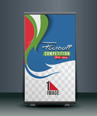 Football Competition rolup display with stand banner template