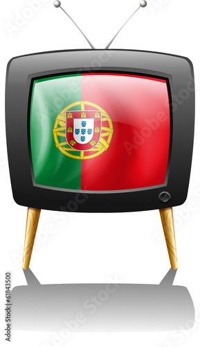 The flag of Portugal inside a television