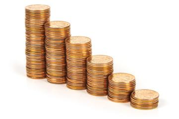 Монеты укладываются в виде графика роста