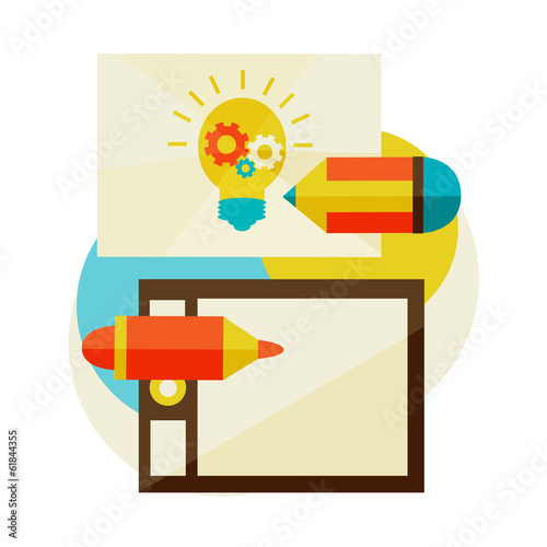 Creation of new ideas. inspiration, vector illustrator work