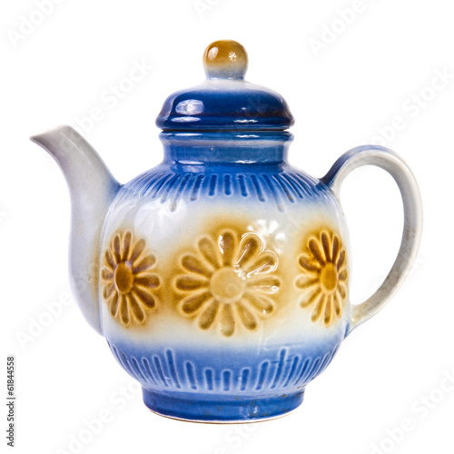 ceramic teapot on a white background