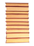 stack of old books with yellowed pages on white background