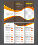 Trifold business brochure print template brown design