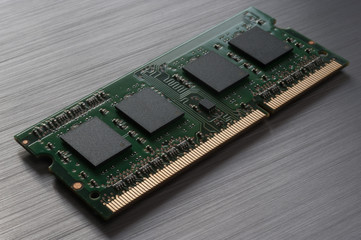 computer chip on brushed metal background