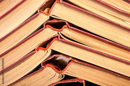 Stack of open books close-up