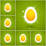 Set of 6 Happy Easter vector background