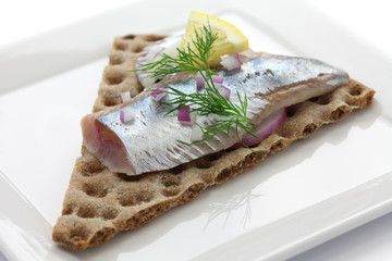 pickled herring on crisp bread, cold appetizer