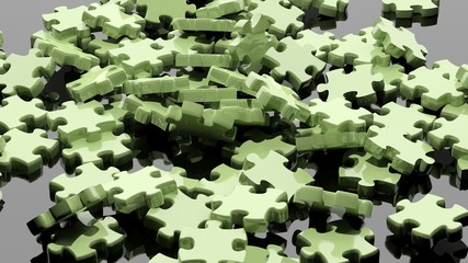 3D pieces of puzzle randomly piled
