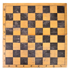old chess board on a white background