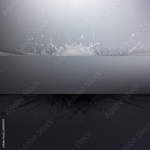 Abstract vector grey grunge background with banner