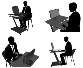 business man working on his computer - vector