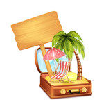 Holiday Suitcase with Wooden Board