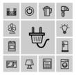 vector black home appliances icon set