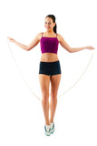 one caucasian woman jogger jumping rope