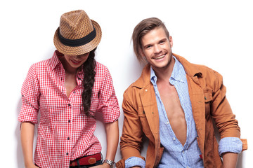 laughing young casual couple
