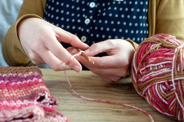 crochet knitting close up