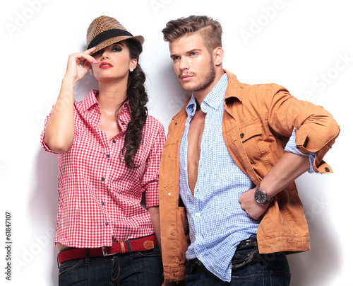 young casual fashion models posing in studio