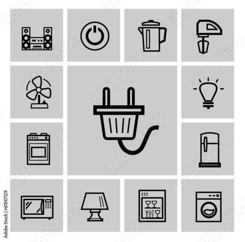 vector black home appliances icon set