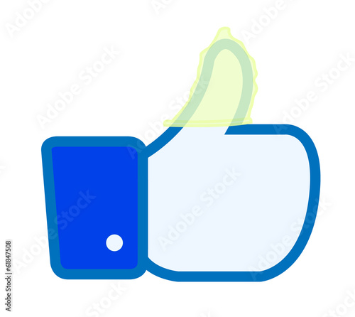 Facebook like thumbs up button with condom vector illustration