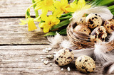 Easter setting with quail eggs and yellow daffodils