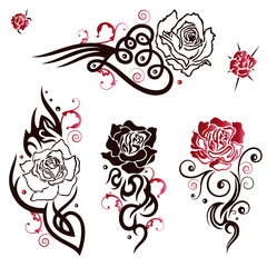Rosen Vektor Set im Tribal, Tattoo Style