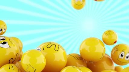 Smiling balls falling down