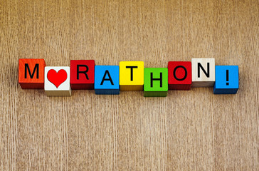 Love for Marathon, sign series for running and athletics.