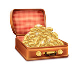 Open Suitcase with Gold Coins