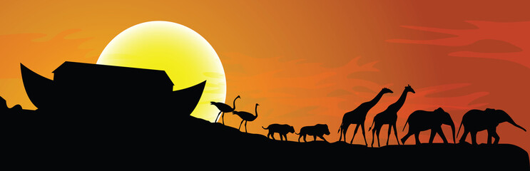 Noah's ark and sunset in background, vector