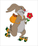 EASTER RABBIT WITH EGGS AND FLOWER
