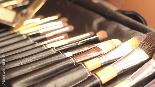 Footage of make up instruments, brushes and case