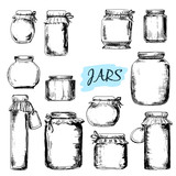 Jars. Set of hand drawn illustrations