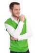 Erfolgreicher lachender junger Geschäftsmann in Grün