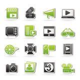Movie and cinema icons -vector icon set