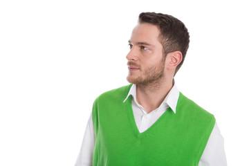 Mann im Profil isoliert in Pullover grün