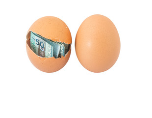 Concept image of Malaysia currency inside chicken egg over white