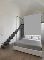 camera da letto moderna con scala di ferro