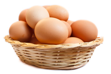 Eggs in wicker basket.