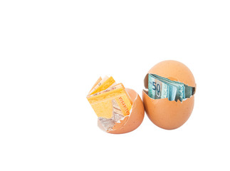 Concept image of Malaysia currency inside egg over white