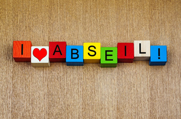I Love Abseil, sign series for abseiling & rock climbers