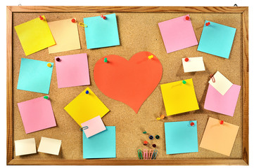 Editable blank paper notes and office supplies on message board.