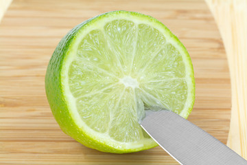 Half  Green Lime  Fruit Knife  Cutting Board