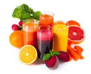 Fresh juice, mix fruits and vegetable isolated on white