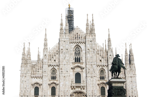 Milan Cathedral, Italy, isolated on white