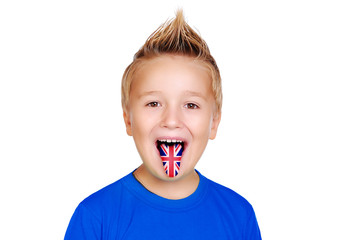 boy showing tongue with british flag on it