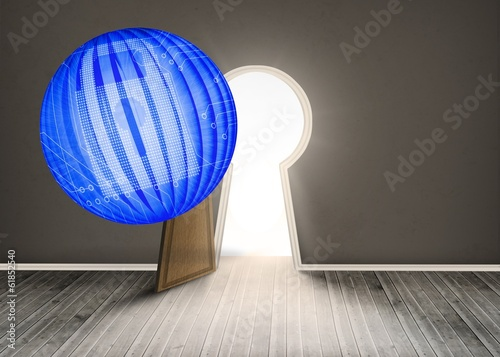 Composite image of digital lock on abstract screen