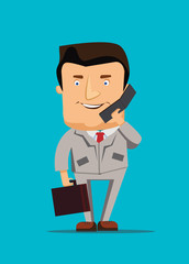 Businessman talking on a phone business vector illustration