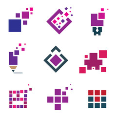 Human creativity building experience icon set pixel