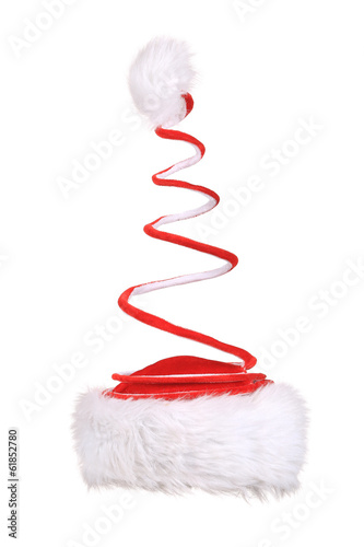 Santa Claus spiral red hat.