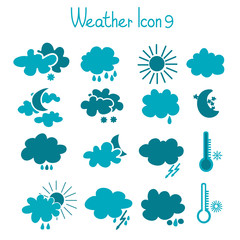 Hand drawn weather icon set.